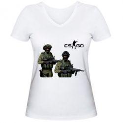 Женская футболка с V-образным вырезом CS GO - FatLine