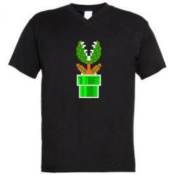 Мужская футболка  с V-образным вырезом Цветок-людоед Супер Марио - FatLine
