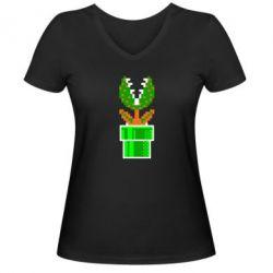 Женская футболка с V-образным вырезом Цветок-людоед Супер Марио - FatLine