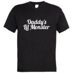 Мужская футболка  с V-образным вырезом Daddy's Lil Monster - FatLine
