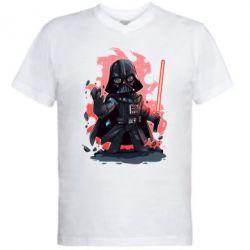 Мужская футболка  с V-образным вырезом Darth Vader Force - FatLine