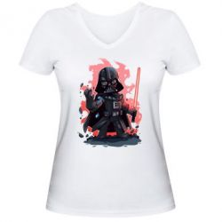 Женская футболка с V-образным вырезом Darth Vader Force - FatLine