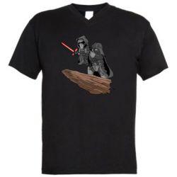 Мужская футболка  с V-образным вырезом Darth Vader & Kylo Ren