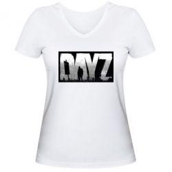 Женская футболка с V-образным вырезом Dayz logo