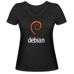 Женская футболка с V-образным вырезом Debian - FatLine