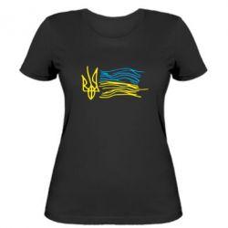 Женская футболка Детский рисунок флаг Украины - FatLine
