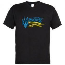 Мужская футболка  с V-образным вырезом Детский рисунок флаг Украины - FatLine