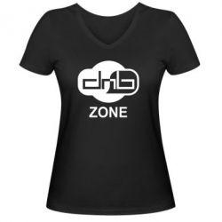 Женская футболка с V-образным вырезом DnB Zone