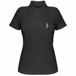 Женская футболка поло Доберман черный