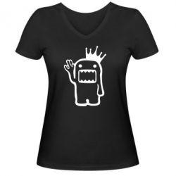 Женская футболка с V-образным вырезом Домо Кун с короной - FatLine