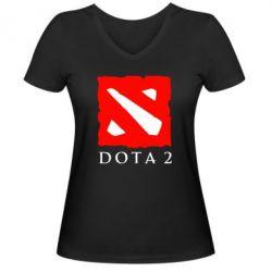 Женская футболка с V-образным вырезом Dota 2 Big Logo - FatLine