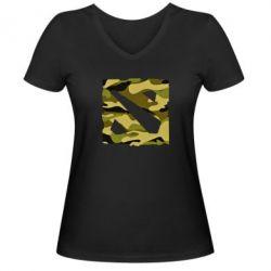 Женская футболка с V-образным вырезом Dota камуфляж - FatLine