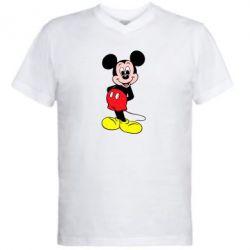 Мужская футболка  с V-образным вырезом Довольный Микки Маус