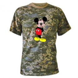 Камуфляжная футболка Довольный Микки Маус - FatLine
