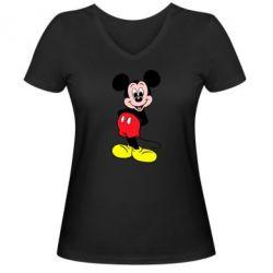 Женская футболка с V-образным вырезом Довольный Микки Маус - FatLine