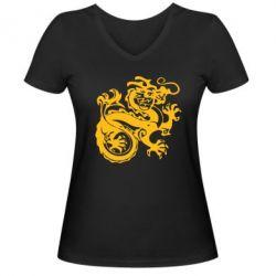 Женская футболка с V-образным вырезом Дракон