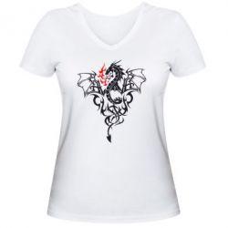 Женская футболка с V-образным вырезом Дракон - FatLine