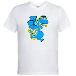 Мужская футболка  с V-образным вырезом Дракоша - FatLine