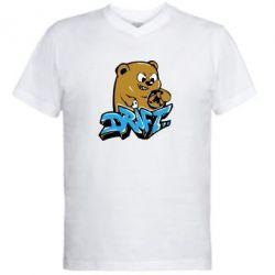 Мужская футболка  с V-образным вырезом Drift Bear - FatLine