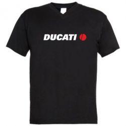 Мужская футболка  с V-образным вырезом Ducati - FatLine