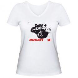 Женская футболка с V-образным вырезом Dukati - FatLine