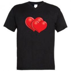 Мужская футболка  с V-образным вырезом Два сердца - FatLine
