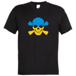 Мужская футболка  с V-образным вырезом Двокольоровий череп - FatLine
