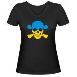 Женская футболка с V-образным вырезом Двокольоровий череп - FatLine
