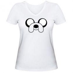 Женская футболка с V-образным вырезом Джейк - FatLine