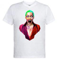 Мужская футболка  с V-образным вырезом Джокер Арт - FatLine