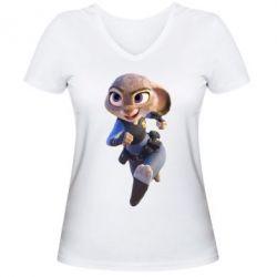 Женская футболка с V-образным вырезом Джуди Хопс - FatLine