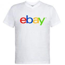 Мужская футболка  с V-образным вырезом Ebay - FatLine