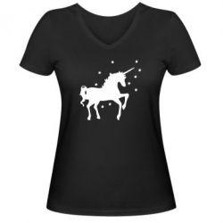 Женская футболка с V-образным вырезом Единорог