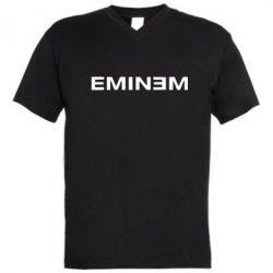 Мужская футболка  с V-образным вырезом Eminem - FatLine