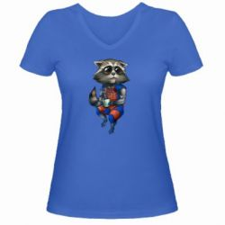 Женская футболка с V-образным вырезом Енот Ракета и Грут - FatLine