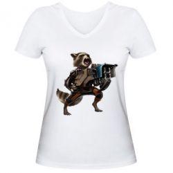 Женская футболка с V-образным вырезом Енот Стражи Галактики