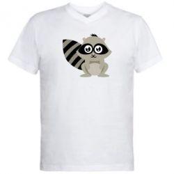 Мужская футболка  с V-образным вырезом Енот - FatLine