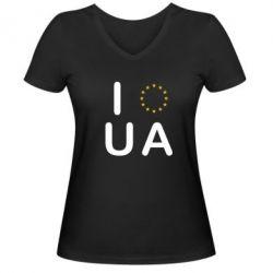 Женская футболка с V-образным вырезом Euro UA - FatLine