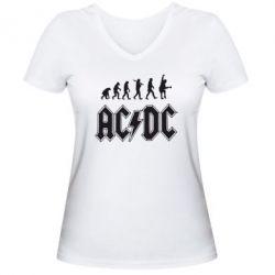 Женская футболка с V-образным вырезом Эволюция AC\DC - FatLine