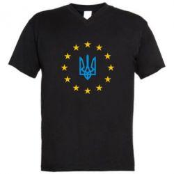 Мужская футболка  с V-образным вырезом ЕвроУкраїна - FatLine