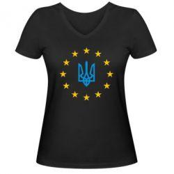 Женская футболка с V-образным вырезом ЕвроУкраїна - FatLine
