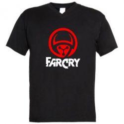 Мужская футболка  с V-образным вырезом FarCry LOgo - FatLine