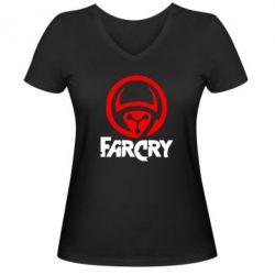 Женская футболка с V-образным вырезом FarCry LOgo - FatLine