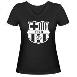 Женская футболка с V-образным вырезом FC Barcelona - FatLine