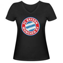 Женская футболка с V-образным вырезом FC Bayern Munchen - FatLine
