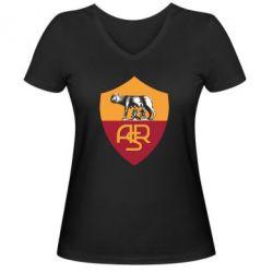 Женская футболка с V-образным вырезом FC Roma - FatLine