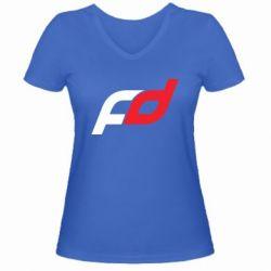 Женская футболка с V-образным вырезом FD - FatLine