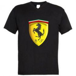 Чоловічі футболки з V-подібним вирізом Ferrari 3D Logo