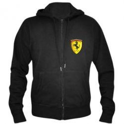 Мужская толстовка на молнии Ferrari 3D Logo - FatLine