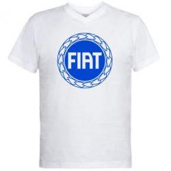 Мужская футболка  с V-образным вырезом Fiat logo - FatLine